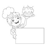 Coloring Page Outline Of cartoon Boy chef with cake. Menu Stock Photos