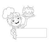 Coloring Page Outline Of cartoon Boy chef with cake. Menu Royalty Free Stock Photography