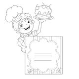 Coloring Page Outline Of cartoon Boy chef with cake. Menu Royalty Free Stock Photos