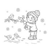 Coloring Page Outline Of cartoon boy feeding birds. Winter. Stock Images