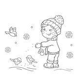 Coloring Page Outline Of cartoon boy feeding birds. Royalty Free Stock Photography