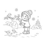 Coloring Page Outline Of cartoon boy feeding birds. Royalty Free Stock Photos