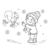 Coloring Page Outline Of cartoon boy feeding a squirrel. Winter. Royalty Free Stock Photo