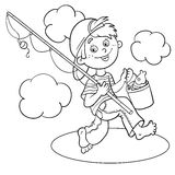 Coloring Page Outline Of A Cartoon Boy fisherman Royalty Free Stock Image