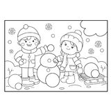 Coloring Page Outline Of cartoon boy with girl making snowman. Together. Winter. Coloring book for kids royalty free illustration