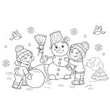 Coloring Page Outline Of cartoon boy with girl making snowman. Together. Winter. Coloring book for kids stock illustration