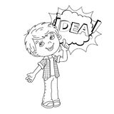 Coloring page outline  of cartoon Boy with great idea Royalty Free Stock Photos
