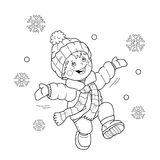 Coloring Page Outline Of cartoon boy jumping for joy.. First snow. Winter. Coloring book for kids Royalty Free Stock Photos
