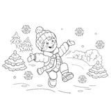 Coloring Page Outline Of cartoon boy jumping for joy. First snow. Winter. Coloring book for kids Stock Photography