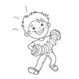Coloring Page Outline Of cartoon Boy playing the accordion Royalty Free Stock Photography