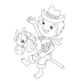 Coloring Page Outline Of cartoon Boy playing cowboy with toy hor Stock Photography
