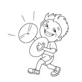 Coloring Page Outline Of cartoon Boy playing the cymbals Royalty Free Stock Image