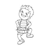 Coloring Page Outline Of cartoon Boy playing the drum. Stock Photo