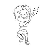 Coloring Page Outline Of cartoon Boy playing the flute Stock Photos