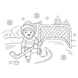 Coloring Page Outline Of cartoon boy playing hockey Royalty Free Stock Photos