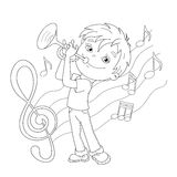 Coloring Page Outline Of cartoon Boy playing the trumpet Royalty Free Stock Photo