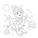 Coloring Page Outline Of cartoon boy riding on skis. Royalty Free Stock Photography