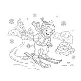 Coloring Page Outline Of cartoon boy riding on skis. Stock Photos