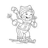 Coloring Page Outline Of cartoon boy riding on skis. Royalty Free Stock Image