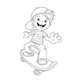 Coloring Page Outline Of cartoon Boy on the skateboard Stock Images