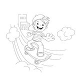 Coloring Page Outline Of cartoon Boy on the skateboard in the ci Stock Photography