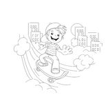 Coloring Page Outline Of cartoon Boy on the skateboard in the ci Royalty Free Stock Images