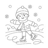 Coloring Page Outline Of cartoon boy skating. Winter sports. Coloring book for kids Royalty Free Stock Photo