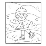 Coloring Page Outline Of cartoon boy skating. Winter sports. Coloring book for kids Stock Image
