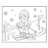 Coloring Page Outline Of cartoon boy skiing. Winter sports. Coloring book for kids Stock Images
