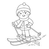 Coloring Page Outline Of cartoon boy skiing. Winter sports. Coloring book for kids Stock Photos