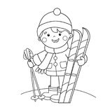 Coloring Page Outline Of cartoon boy with skis. Winter sports. Coloring book for kids Royalty Free Stock Photography