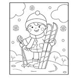 Coloring Page Outline Of cartoon boy with skis. Winter sports. C. Oloring book for kids Stock Image