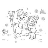Coloring Page Outline Of cartoon boy with snowman. Winter. Coloring book for kids royalty free illustration