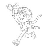 Coloring Page Outline Of cartoon boy with toy plane Stock Photos