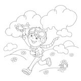 Coloring Page Outline Of cartoon boy with toy plane Stock Image