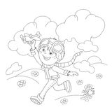 Coloring Page Outline Of cartoon boy with toy plane Royalty Free Stock Photography