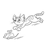 Coloring Page Outline Of cartoon cat playing with toy clockwork mouse. Coloring book for kids Royalty Free Stock Photo
