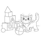 Coloring Page Outline Of cartoon cat playing with toys Stock Photography