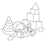 Coloring Page Outline Of cartoon cat playing with toys Royalty Free Stock Images