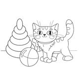 Coloring Page Outline Of cartoon cat playing with toys Royalty Free Stock Photos