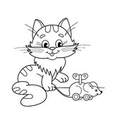 Coloring Page Outline Of cartoon cat with toy clockwork mouse. Coloring book for kids Stock Photos