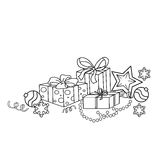Coloring Page Outline Of cartoon Christmas ornaments and gifts. Royalty Free Stock Photo