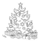 Coloring Page Outline Of cartoon Christmas tree with ornaments and gifts. Royalty Free Stock Images