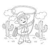 Coloring Page Outline Of cartoon cowboy with lasso Royalty Free Stock Images