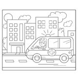 Coloring Page Outline Of Cartoon Doctor With Ambulance Car Stock Photography