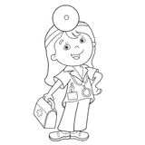 Coloring Page Outline Of cartoon doctor with first aid kit. Profession. Medicine. Coloring book for kids Stock Photography
