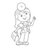 Coloring Page Outline Of cartoon doctor with first aid kit. Profession. Medicine. Coloring book for kids Stock Photo