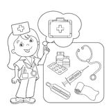 Coloring Page Outline Of Cartoon Doctor With First Aid Kit Royalty Free Stock Images