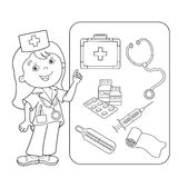 Coloring Page Outline Of cartoon doctor with first aid kit. Set of medical instruments. Profession. Medicine. Coloring book for kids Stock Image