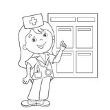 Coloring Page Outline Of cartoon doctor. Profession. Medicine. Coloring book for kids Royalty Free Stock Images